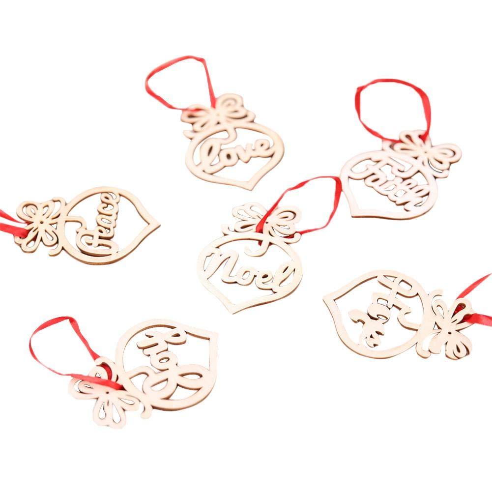 tingtin Adorno de Madera Navidad - 6 Colgantes Enamorados Formas de corazó n Adorno de Madera Á rbol Rojo y una Escena Disposició n Hueco de Doble Cara Decoració n navideñ a