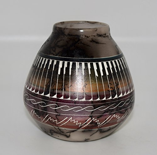 Hand Etched Horse Hair Decorative Pottery (Vase Native American Pottery)