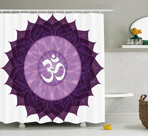 Chakra Decor Shower Curtain by Ambesonne, Circular Lace Point Form with Arabic Lettering the in Node Centre Meditation Image, Fabric Bathroom Decor Set with Hooks, 75 Inches Long, Purple (Node Hook)