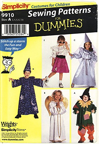 Simplicity 9910 / 0617 Sewing Pattern for Dummies ~ Child's Costume (Wizard, Angel, Scarecrow, Princess, Sock Hop) ~ Sizes 3-8 -