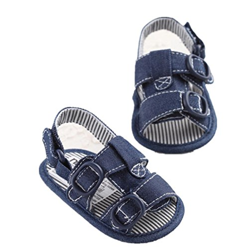 DZT1968 Boy Crib Shoes Newborn Soft Sole Anti-slip Baby Jean Casual Sneakers (12~18 Month, Blue)