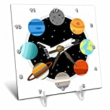3dRose Janna Salak Designs Outer Space - Space Shuttle and Solar System - 6x6 Desk Clock (dc_283592_1)
