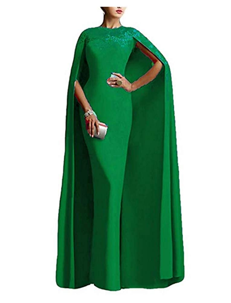 Dark Green Aiyue Yishen Women's Mother of The Bride Dresses with Cape Formal Gown Mermaid Evening Dresses