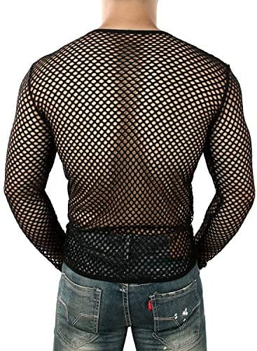 JOGAL Mens Mesh Fishnet Fitted Muscle Top