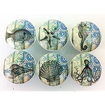 Set Of 6 Blue Nautical Print Cabinet Knobs