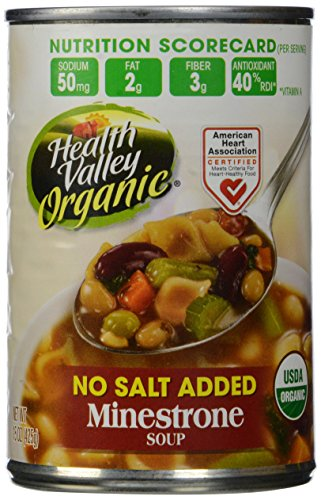 Health Valley Organic No Salt Added Soup, Minestrone, 15 Ounce