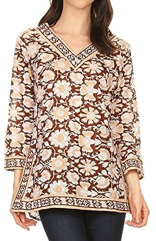 Sakkas 20175 - Assia Damask Floral Long Sleeve Blouse Tunic - Brown - 1X (Sakkas 3x)