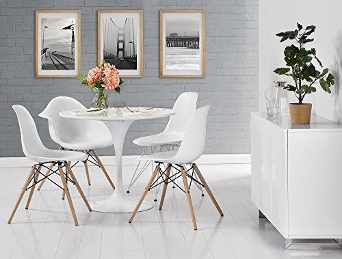 DHP Mid Century Modern Chair with Wood Legs, Set of Two, Lightweight, White by DHP (Image #2)