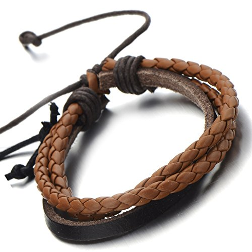 Hand-made Multi-strand Brown Braided Leather Bracelet for Men Women Leather Wristband Wrap Bracelet