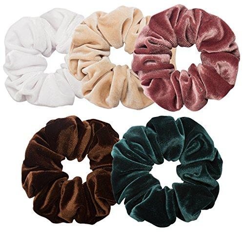 Ondder 5 Pack Large Velvet Scrunchies Hair Scrunchy Big Hair Bobble Elastics Hair Bands Headbands Women Scrunchies Bobbles Hair Ties, 5 Pieces (Color 2)