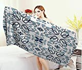 Anniutwo Ethnic,Baby Bath Towel,Medieval Persian Palace Flower Leaf Shapes Arabian Inspired Motifs Artwork Print,Print Wrap Towels,Light Blue Size: W 10'' x L 39.5''