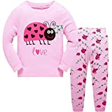 Girls Pyjamas Set Toddler Clothes 100% Cotton Sleepwear Animal Printed Pink Ladybug Nightwear Winter Long Sleeve PJs 2 Piece Outfit for Kids Age 3-4 Years