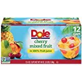 Dole Fruit Bowls, Cherry Mixed Fruit in 100% Fruit Juice, 4 Ounce (12 Cups), Pineapple Pear Peach & Cherry Packed in Fruit Juice, Non-GMO, No Artificial Sweeteners