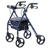 Andador con ruedas portátil Hugo Mobility con asiento, respaldo y ruedas de 8 pulgadas, azul