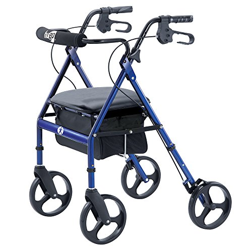 Hugo Mobility Portable Rollator Walker with Seat, Backrest and 8 Inch Wheels, Blue from Hugo Mobility