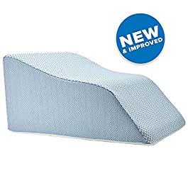 Lounge Doctor Elevating Leg Rest Pillow Wedge Foam w Light Blue Cover Large 18″ Foot Pillow Leg Support Leg Swelling Vein Issues Lymphedema Restless Legs Pregnancy