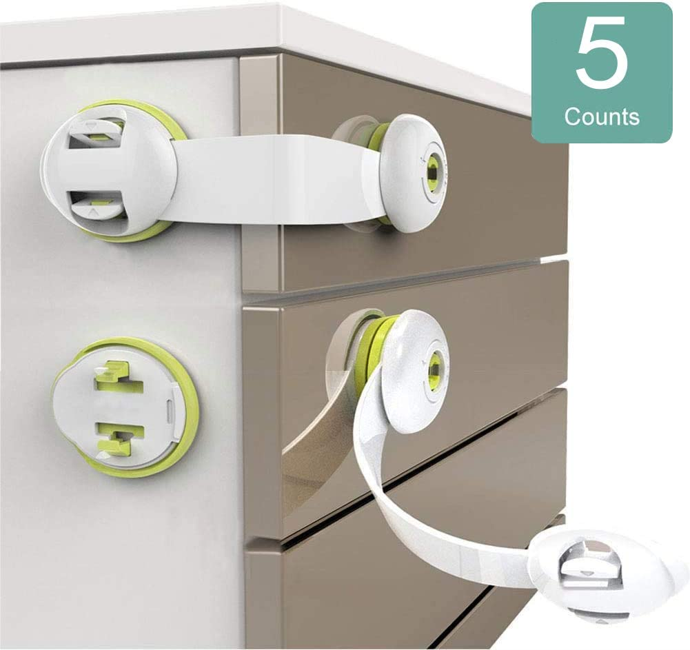 Child Safety Locks 5 Pack Child Safety Cupboard Latch Stick On Strong Adhesive Locks For Kitchen