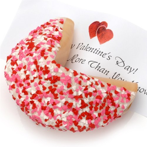 Heart Sprinkles Giant Fortune Cookie (White)