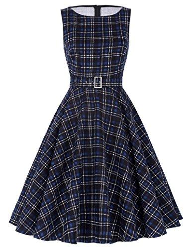 Belle Poque® Sleeveless Cotton Vintage Swing Dress Classic Plaid , Navy Blue (BP02-16)