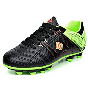 DREAM PAIRS 160471-K Kid's Fashion Soccer Shoes Outdoor Light Weight Lace Up Football Sport Cleats Sneakers (Toddler/Little Kid/Big Kid) Blk-L.Grn-Red Size 11
