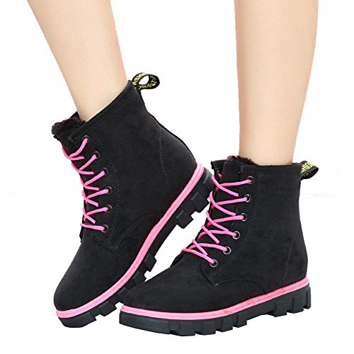 Women Ankle Short Boots Flat Heel Winter Leather Warm Casual Comfort Shoelace Snow Cotton Shoes 35 dk1Z10