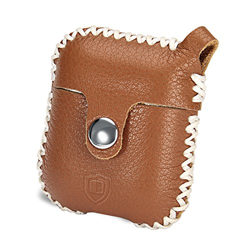 Airpods Case, Benuo Handmade Genuine Leather Protective Cover , Classic Carrying Case with Secure Snap Fastener, Stylish Skin with Secure Keyring for …