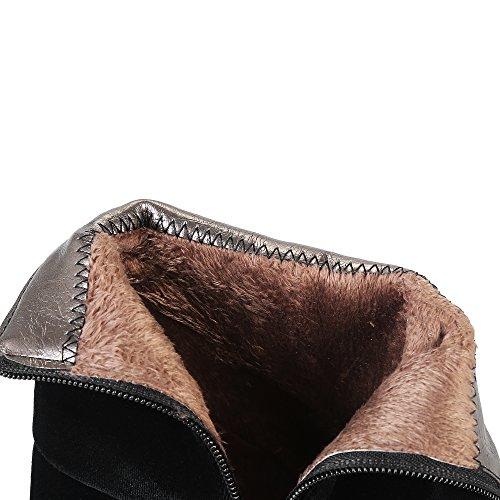 YE Damen Chunky Heels Ankle Boots Stiefeletten mit Reißverschluss und Blockabsatz 6cm Bequem Elegant Schuhe Schwarz