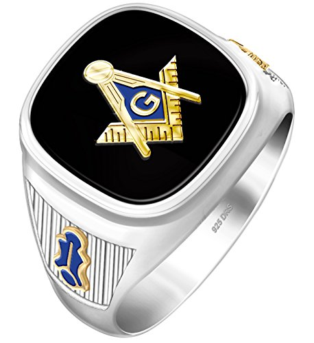 Ring Back Masonic Solid Mens - US Jewels And Gems Customizable Men's Two Tone 0.925 Sterling Silver Solid Back Blue Lodge Freemason Masonic Ring, Size 11