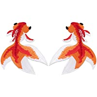 Rurah Lifelike Goldfish Embroidered Motif Applique Decoration Patches DIY Sew/Iron On Clothes Sticker