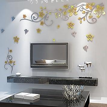 LiTie Acryl Spiegel 3D Stereo wall Poster bunte Blume rattan ...