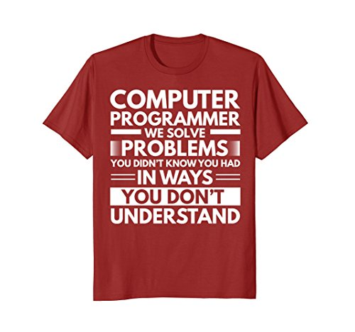 Mens Computer Programmer Funny Gift T-Shirt Large Cranberry
