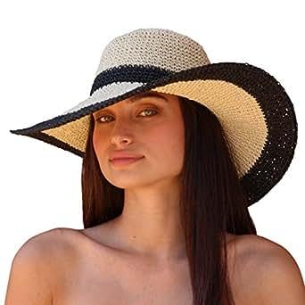Palms & Sand Andros Women's Floppy Wide Brim Sun Hat (Navy and Beige)