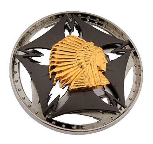 Native Indian American Chief Spinner Belt Buckle Metal Fashion Unisex Mens (New Belt Bling Buckle Crystal)