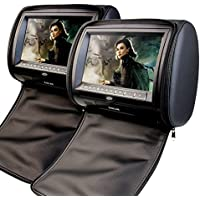 2 x EinCar 9 Inch Digital display Screen Headrests DVD Player Monitor Support USB/SD/IR/FM Transmitter with Video Game Controllers