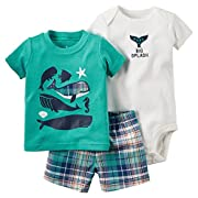 Evelin LEE Baby Boy Cotton Short Sleeve Shirt and Shorts 2pcs Set Clothes (3-6 months,01)