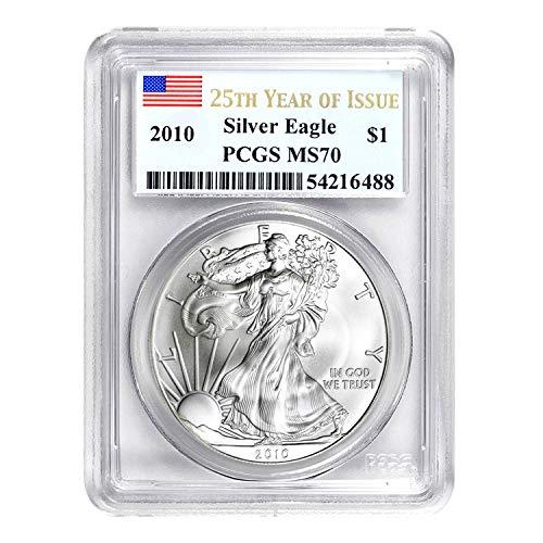 2010 American Silver Eagle 25th Anniversary $1 MS-70 PCGS