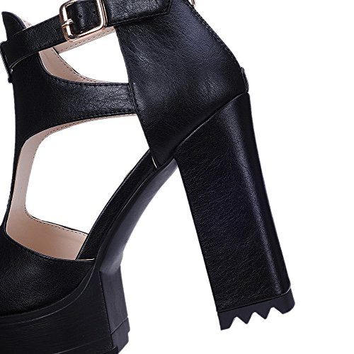 VogueZone009 Women's Soft Material Open Toe High-Heels Buckle Solid Sandals Black LILEVI