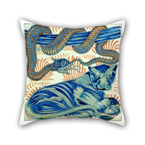 Bestseason Christmas Pillow Shams Of Oil Painting De Morgan, William - Tile For Bar Divan Living Room Coffee House Christmas 18 X 18 Inches / 45 By 45 Cm(twice Sides)
