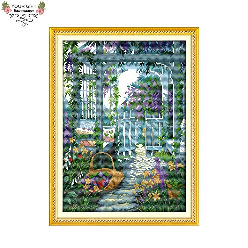 Zamtac Your Gift Home Decor F570 14CT 11CT Counted and Stamped The Garden Gate Needlepoints Embroidery Cross Stitch Kits - (Cross Stitch Fabric CT Number: 14CT Stamped Product)