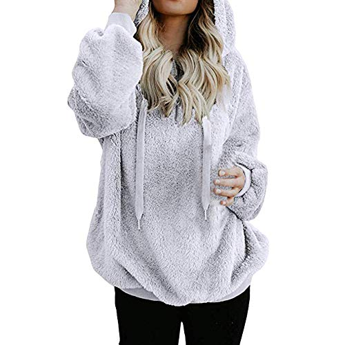iDWZA Women's Winter Warm Zipper Up Hooded Sweatshirt Coat Outwear with Pockets (M, White) -