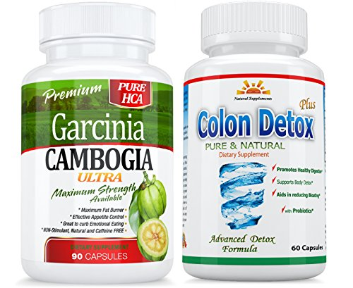 1 100% HCA GARCINIA CAMBOGIA ULTRA+1 COLON DETOX 40% OFF * 1 Month Supply * HIGHEST PROVEN HCA MORE than 95%HCA - EFFECTIVE Weight Loss/APPETITE SUPPRESSANT $  BACK GUARANTEE, 45 DAYS RETURN
