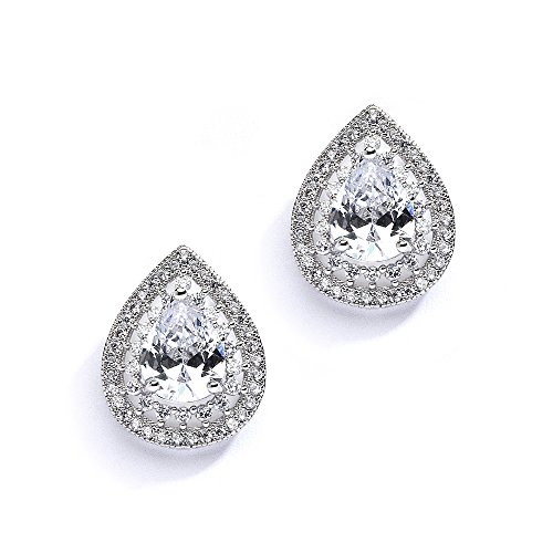 Pave Vintage Earrings (Mariell Pear-Shaped Cubic Zirconia Vintage Bridal Wedding Earrings with Platinum-Plated Pave Halo Frame)