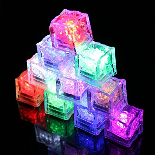 Multicolor [Ice Cubes Light]-LED Liquid Sensor Ice Cubes Shape Lights for Bar Club Wedding Party Champagne Tower Decoration 12 Pack (Colorful) (Christmas Wines 12 Of Apron)