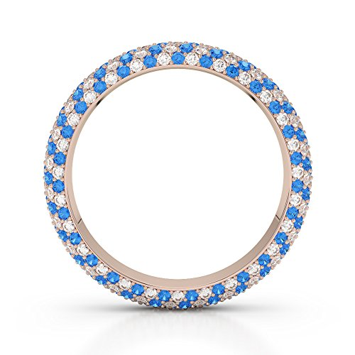 Or Rose 18 carats 0,60 CT G-H/VS sertie de diamants Coupe ronde Topaze bleue et bague éternité Agdr-1116