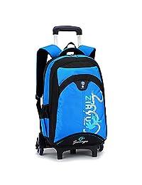 "HIGOGOGO Nylon Rolling Backpack, Size:19""*12""*7""(H*W*T), Trolley:35"", Sports Backpack Boys Girls School Backpack With 6 Wheels Blue"