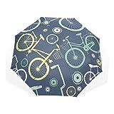 DEYYA Windproof Travel Umbrella Golf Umbrella Bicycle Pattern Unbreakable Lightweight 8 Ribs Compact