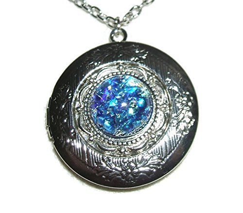 - BLUE OPAL LOCKET NECKLACE Silver Pltd Pendant CZECH GLASS Fire Opalized Stone