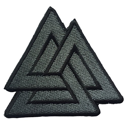 Viking Patch (SpaceAuto Valhalla Valknut Triangle Symbol Nordic Viking Odin Military Tactical Morale Badge Hook & Loop Fastener Patch 2.68