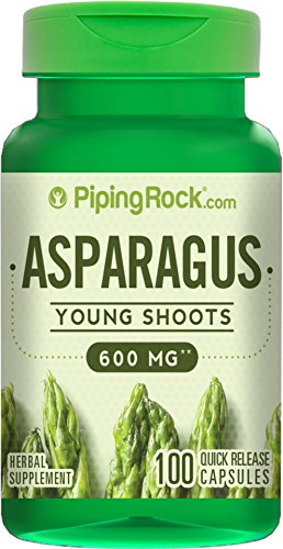 Piping Rock Asparagus Young Shoots 600 mg 100 Quick Release Capsules Herbal Supplement
