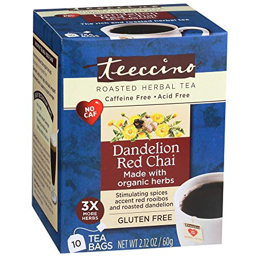 Teeccino Dandelion Red Chai Herbal Tea Bags, 85% Organic, Gluten Free, Caffeine Free, Acid Free, 10 ()